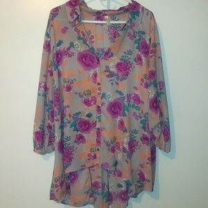 EUC Sheer high low button blouse size 3x